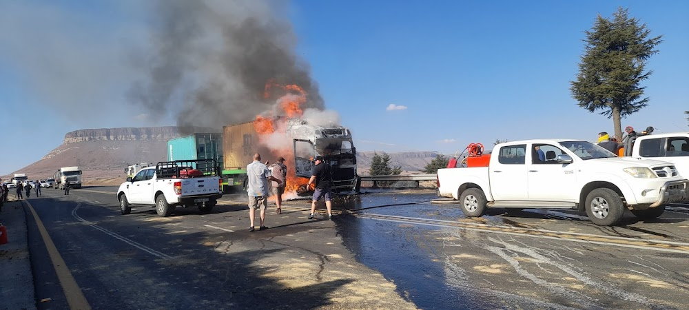 Truck petrol bombed during violent protest on N3 near Harrismith