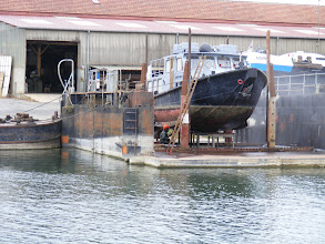 Photo: Lots of shore resources for the working boats also, such as this one being power washed in dry dock.