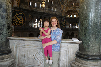 Photo: At Hagia Sofia, I offered to take a picture of a woman and her little girl. When she offered in return, the little girl also wanted to be in the pictures. She's so cute.