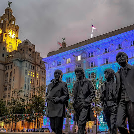 Liverpool and The Fab Four by Jamie Ledwith - City,  Street & Park  Historic Districts ( the beatles, liver bird, dusk, liverpool, beatles )