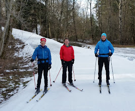Photo: Sue, Karen and Phil - skiing on thin ice!