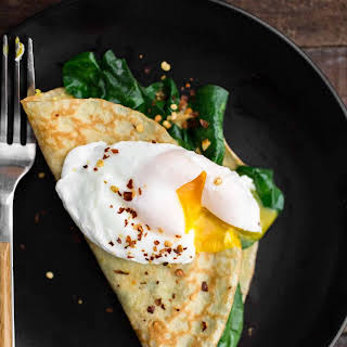 Garlicky Spinach Cornmeal Crepes.