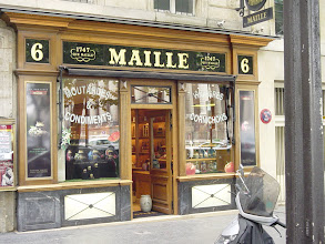 Photo: The Place de la Madelaine location of the traditional-looking Maille store - purveyors of mustard (and oils and vinegars) for more than 260 years. We have a good time selecting unusual mustards for gifts.