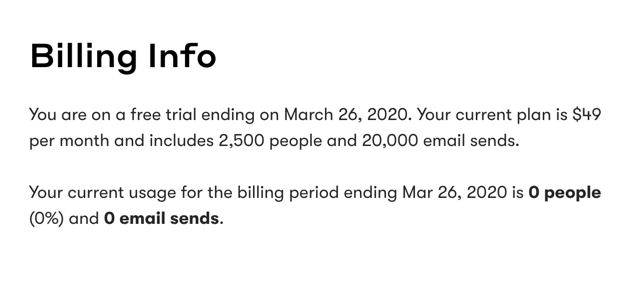 The Billing Info page.