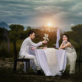 Romantic Interlude by MSR Photography - People Couples ( dinner, green, white, romantic, couple )