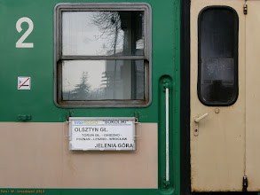 """Photo: Tablica kierunkowa IR """"Sokoliki"""" Olsztyn Główny - Jelenia Góra {Toruń Wschodni; 2013-02-07}"""