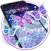 Purple Glitter Diamond Butterfly Gravity Theme