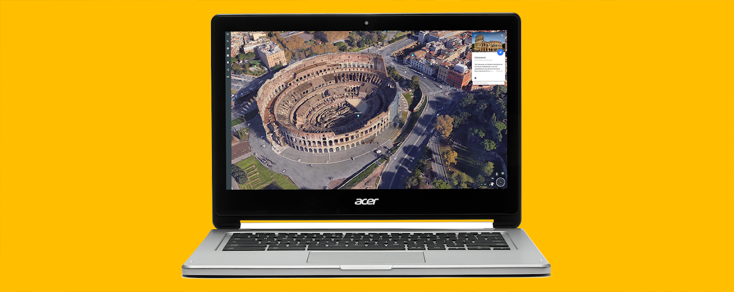 Image for field trips. A Chromebook showing an image of the Roman Colosseum.