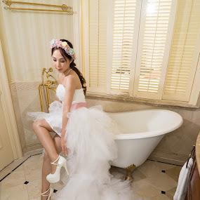 Ready to go by Billy C S Wong - Wedding Bride ( bath, bathroom, bride, groom, ready,  )