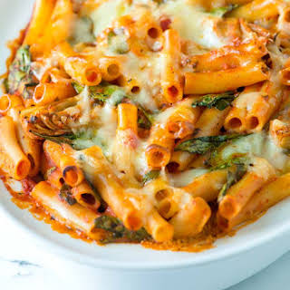 Easy Baked Ziti with Spinach.