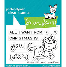 Lawn Fawn Clear Stamps 3X2 - Winter Unicorn