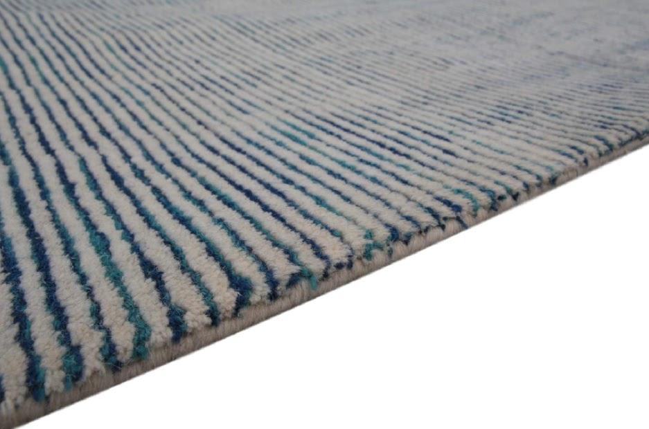 dywan w pasy tafting 100% wełna z Indii beż niebieski 280x370cm wielki