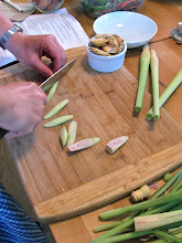 Photo: cutting lemon grass for the soup