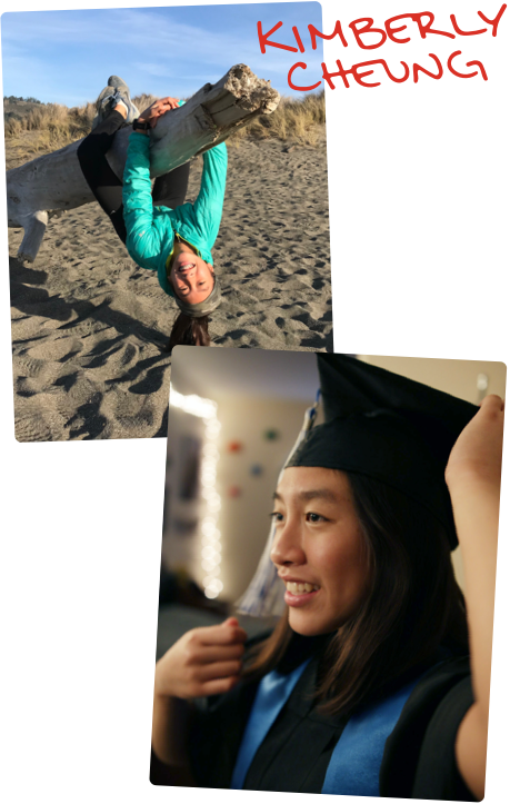 Kimberly at the beach climbing on a piece of wood. Kimberly wearing graduation cap and gown.