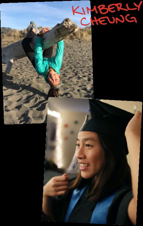 Kimberly en la playa subiéndose a un pedazo de madera. Kimberly con toga y birrete de graduación.