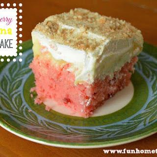 Strawberry Banana Poke Cake.