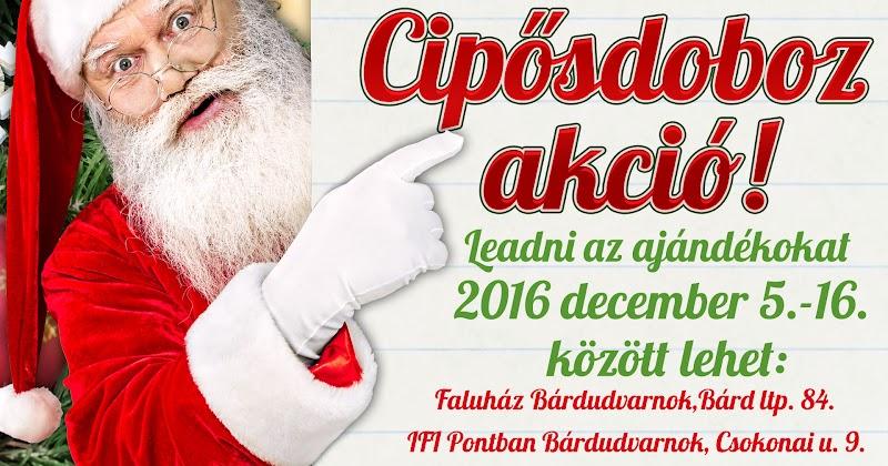 Cipősdoboz karácsonyi akció 2016