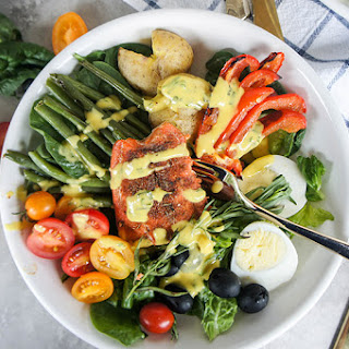 Blackened Salmon Nicoise Salad with Mango Tarragon Dressing