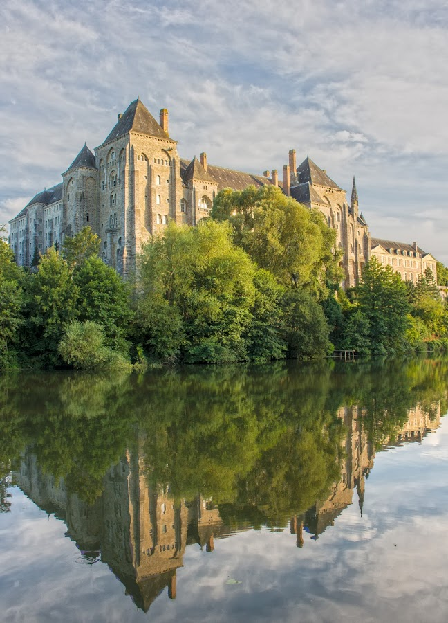 Solesmes Abbey by Peter Louer - Buildings & Architecture Places of Worship ( reflection, france, landscape, river, abbey )