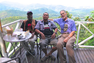 Photo: Rodney, Sun and Michael at the Sunset Cafe on the top of Doi Kong Mu
