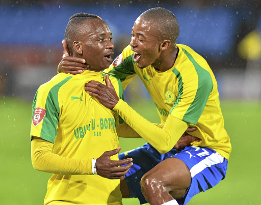 Net asset: Khama Billiat, left, celebrates scoring against SuperSport last week with Sundowns teammate Thapelo Morena. A week ago Billiat was outstanding, but playing every three days will take its toll. File Picture: LEFTY SHIVAMBU/GALLO IMAGES