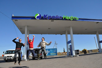 Photo: On the way to the Baikal: gaz station jumping with the Kiwis
