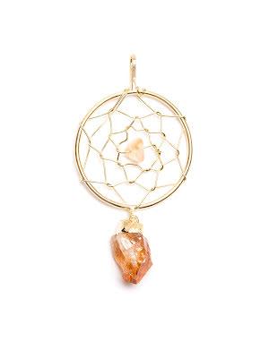 Citrin, hänge i form av drömfångare, guldpläterat
