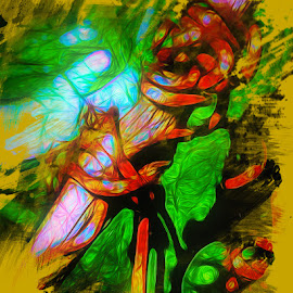 Smiling Vine Creature by Dave Walters - Digital Art Abstract ( nature, lumix zs10, abstract, vine, colors )