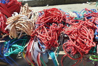 Photo: Ropes, mostly of synthetic materials, dominated this market booth