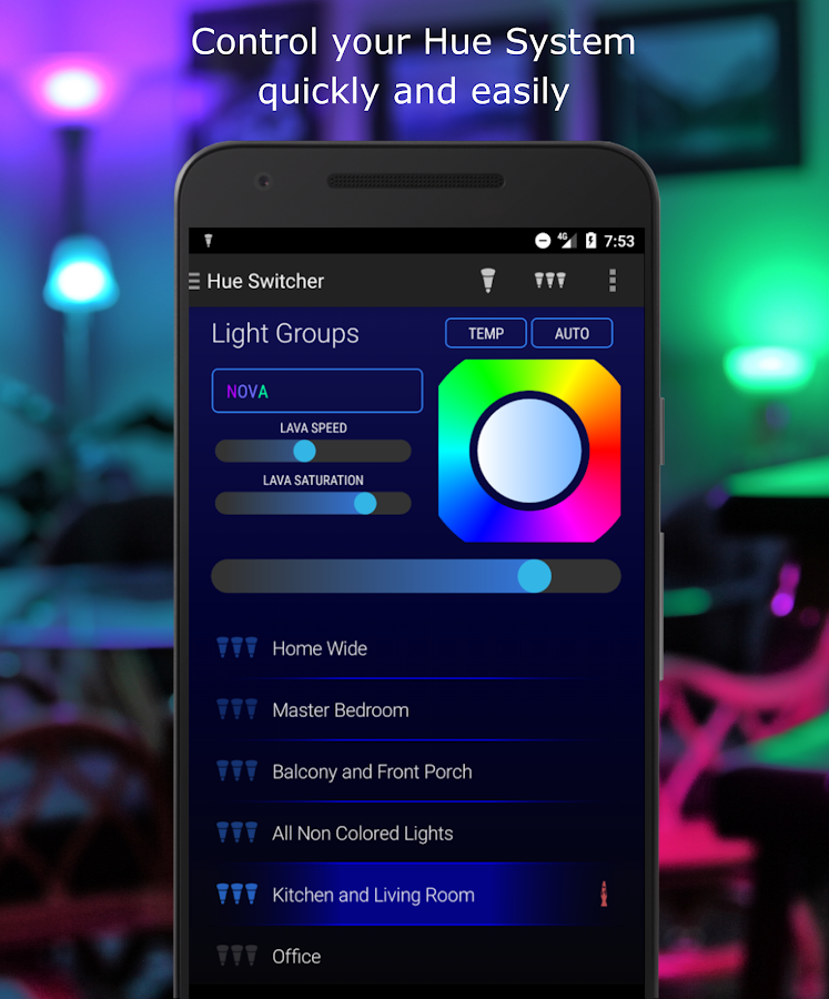 hue switcher for philips hue systems android apps on google play. Black Bedroom Furniture Sets. Home Design Ideas
