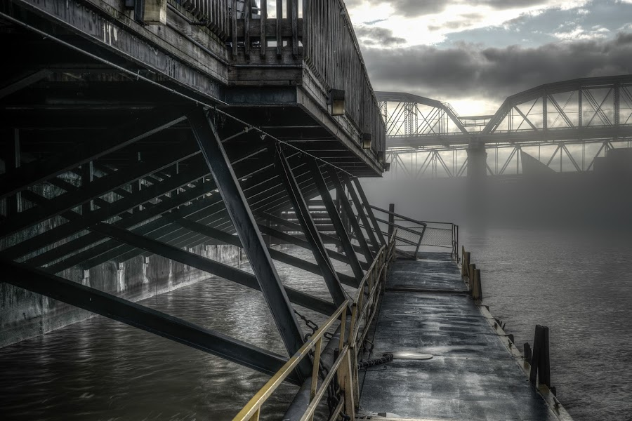 Ohio River Fog by Eric Witt - Landscapes Waterscapes ( water, hdri, foggy, hdr, ohio, fog, bridge, cincinnati, boat, dock, river, kentucky,  )