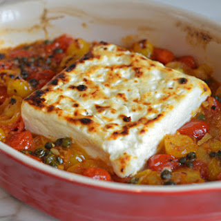Broiled Feta with Garlicky Cherry Tomatoes & Capers Recipe