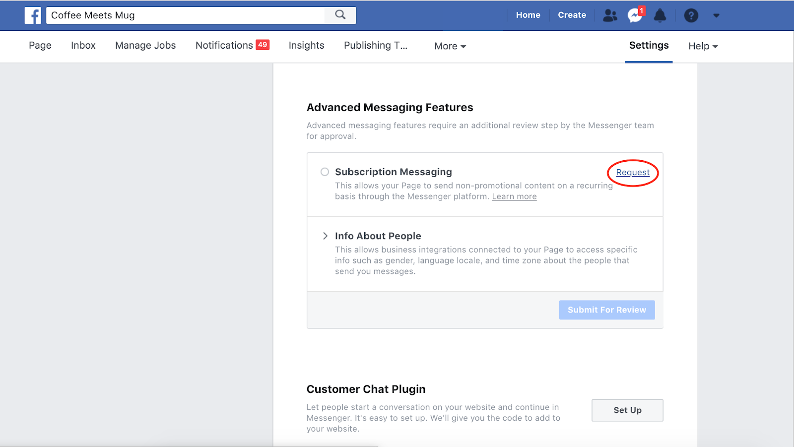 How to request to apply for Facebook Subscription Messaging
