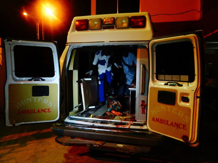 A file photo of a Hunter Ambulance in Nigeria. Police spokesperson Nnamdi Omoni said a pail loader (digger) skidded off the road and had a head-on collision with an oncoming bus