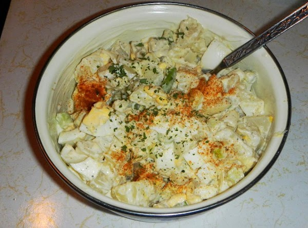 Gently fold in with the potatoes and eggs.Cover with saran, and put in the...