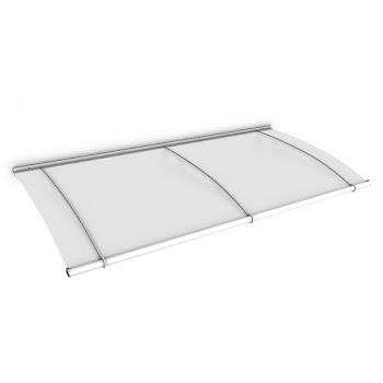 Auvent marquise de porte LT-Line, 200 x 95 cm, verre acrylique transparent ou opaque, fixations acier anticorrosion blanc