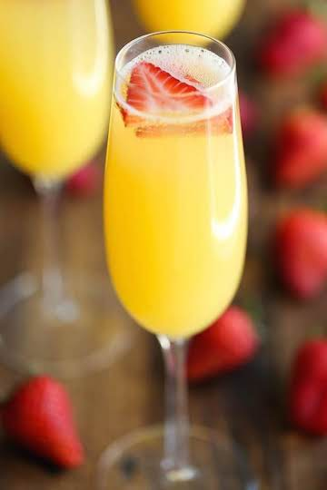 Strawberry And Pineapple Mimosas