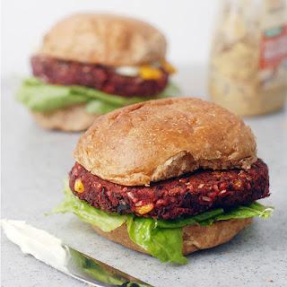 Vegan Black Bean Beet Veggie Burgers.