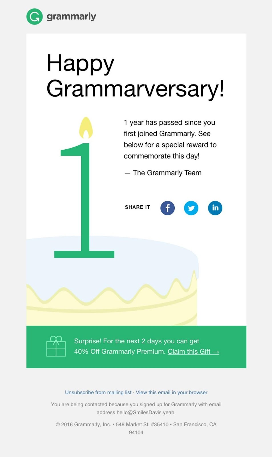 Grammarly email example of appreciating customers