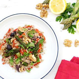 Roasted Asparagus Buckwheat Salad with Muhammara Dressing [vegan]