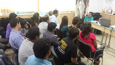 Photo: Wheelchair User, Popular RJ and Self Advocate, Den, taking a session at L'Oreal Kolkata.