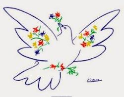 Friedenstaube mit Blüten.