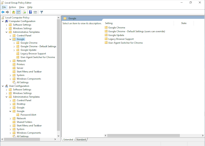 Screenshot of Chrome Enterprise Bundle files in the local Group Policy Editor on a Windows desktop