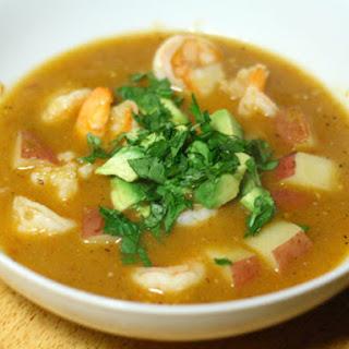 Shrimp and Chipotle Soup with Tomato, Tomatillo, and Potato.