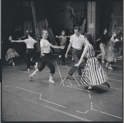 Jerome Robbins directing Larry Kert and Carol Lawrence during rehearsal for the stage production West Side Story