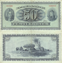 Photo: Ole Rømer, 50 Danish Kroner (1936). This note is now obsolete.