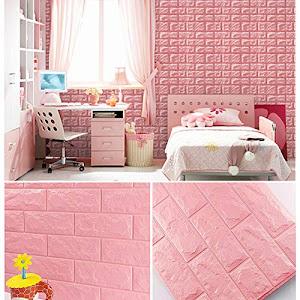 Set 5 x Tapet adeziv caramida roz, 77 x 70 cm, spuma moale 3D