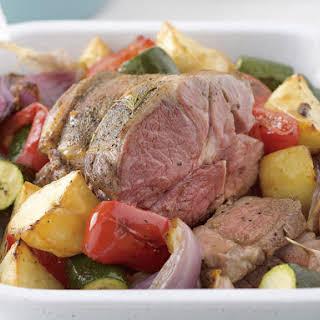 Greek Lamb Roast with Herbed Vegetables.
