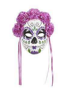 Day of the dead, ansiktsmask med rosa blommor