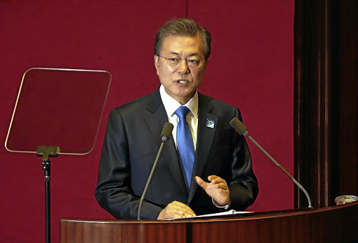 South Korean President Moon Jae-in delivers his speech on the 2018 budget bill during a plenary session at the National Assembly in Seoul, South Korea, on November 1 2017. Picture: YONHAP VIA REUTERS